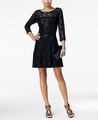SL Fashions Navy Blue Lace Illusion 3/4 Sleeve Sequined Lace A- Line Dress 14