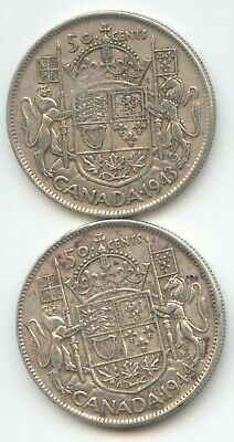 Canada 1943 & 1944 Silver 50 Cent Pieces Canadian Half Dollars 50c EXACT SET