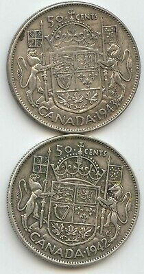 Canada 1942 & 1943 Silver 50 Cent Pieces Canadian Half Dollars 50c EXACT SET