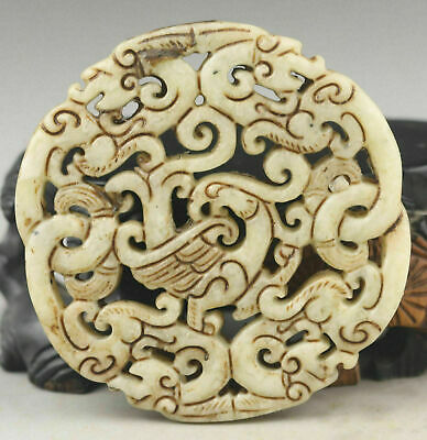 Hot sell Old Chinese natural jade hand-carved double dragon pendant AAA+