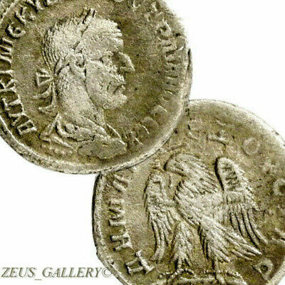 TRAJAN DECIUS Eagle Silver Tetradrachm Antioch Large Ancient Roman Empire Coin