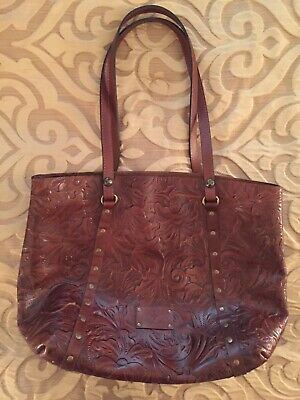 Patricia Nash Treviso Tooled Leather Tote Handbag Whiskey EXC COND!!