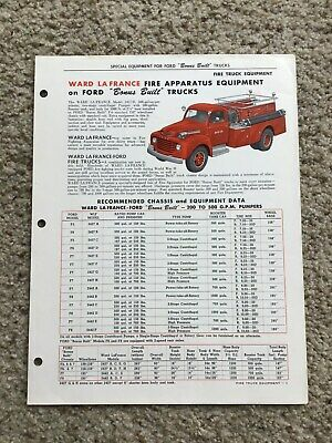 1950  Ward La France truck co.  ford chassis with fire apparatus sales folder