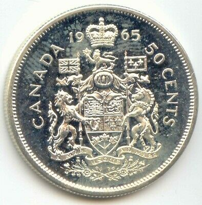 Canada AU 1965 Silver 50 Cent Piece Canadian Half Dollar 50c EXACT COIN SHOWN