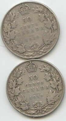 Canada 1918 1919 .925 Silver 50 Cent Pieces Canadian Half Dollars 50c EXACT SET