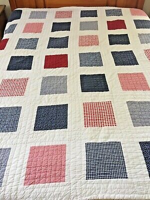 "Red White Blue Vintage Hand Quilted Patchwork Quilt 81"" X 80"""