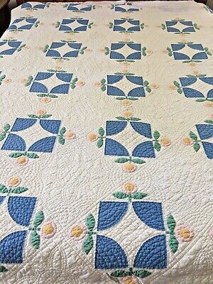 "Omg! Vintage Handmade Flower Reel / The Posy Quilt Well Quilted By Hand 70"" X 83"