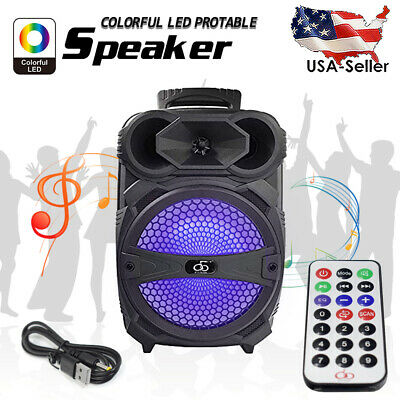 """8"""" BT Party Bluetooth Speaker System Big Led Portable Stereo Tailgate Loud FM US"""