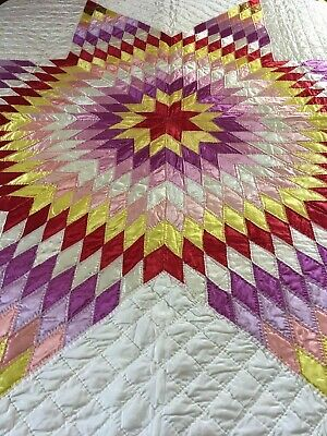 "Fabulous Vintage  Handmade Lone Star Quilt 71"" X 70"""