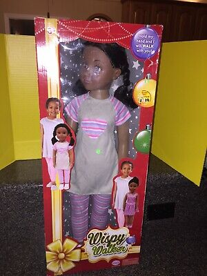 "WISPY WALKER DOLL 27/"" UNEEDA AFRICAN AMERICAN PIG TAILS NEW IN BOX"