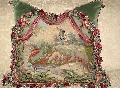 CHARMING ANTIQUE NEEDLEPOINT TAPESTRY PILLOW~ DOG AND CRANE  Woolwork, Sampler
