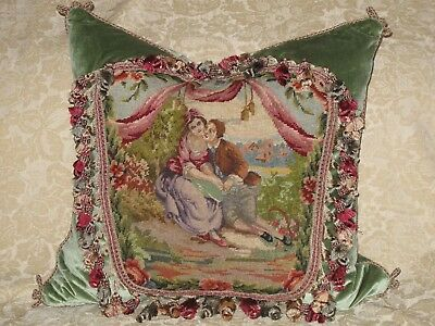 Sublime Romantic Antique Needlepoint Tapestry Pillow~ Figural Woolwork Sampler