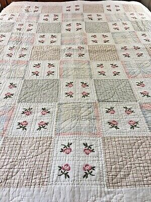 "Vintage Inspired Embroidered Roses & Plaid Patchwork Quilt 84"" X 83"""