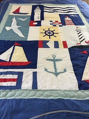 "Vintage Inspired Nautical Lighthouses Sailboats Anchor Quilt 68"" X 84"""