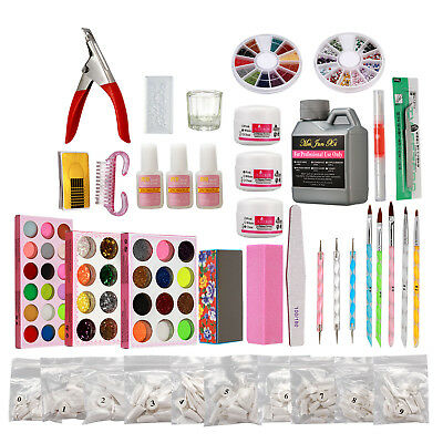 Acrylic Nail Art Kit * Acrylic Glitter Powder Liquid Glue French False Tips File