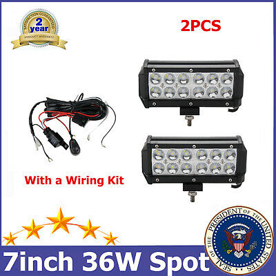 2X 36W 7'' LED Work Light Bar SPOT Off road GMC 4WD Tractor RZR+Free Wiring Kit