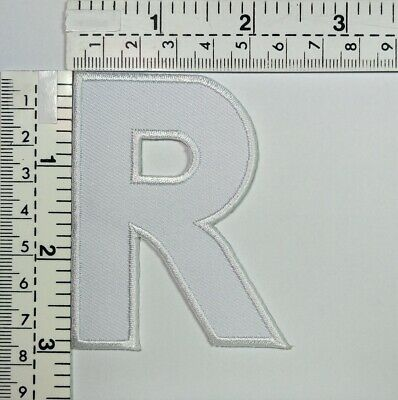 3 IN White  Letter R English Patch A to Z Iron-on Patches Embroidered Sign Badge