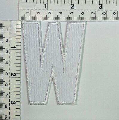 3 IN White  Letter W English Patch A to Z Iron-on Patches Embroidered Sign Badge