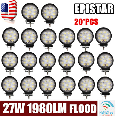 20 PCS 4Inch 27W Round Flood Beam Led Work Light Driving Fog Lights Front Bumper