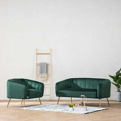 Emerald Green Velvet 2 Seater Sofa Couch Settee Oyster Shell Tub Chair Armchair