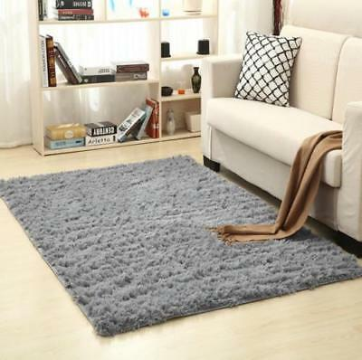 HOT Large Shaggy Floor Rug Plain Soft Sparkle Area Mat Thick Pile Glitter-65XPY