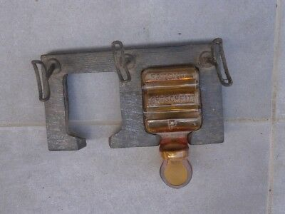Antique Vintage Wooden And Glass Inkwell Ink Pot Patent Fortschritt
