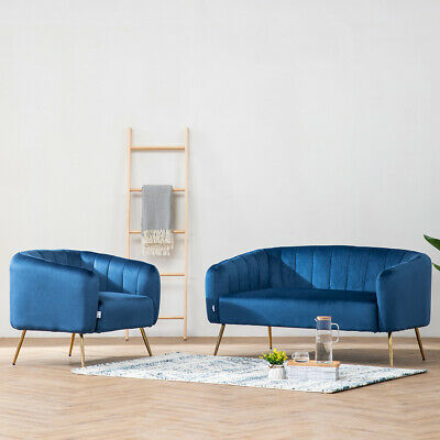 Royal Blue Velvet Rectangle Seat Tub Chair Armchair + 2 Seater Sofa Couch Settee