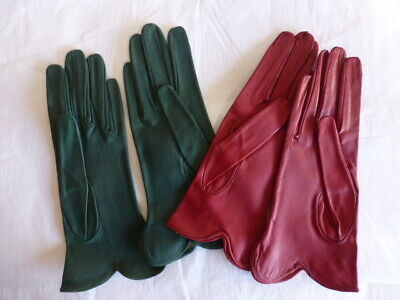 Vintage  Calf  Leather  Ladies  Gloves  2  Pairs  Red & Green 1950'S