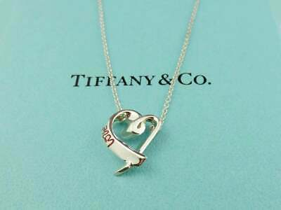 Authentic TIFFANY & CO Sterling Silver Red Enamel Loving Heart Pendant Necklace