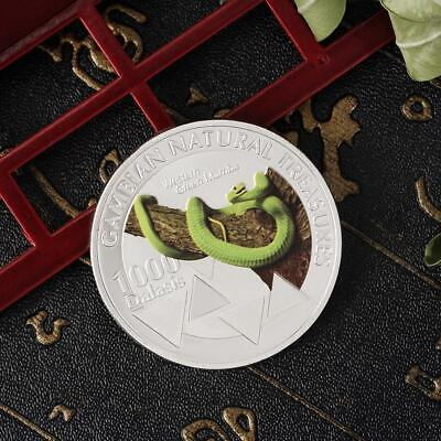 2015 Gambian animal West Green Mamba Snake Color Silver Coin Commemorative Coin