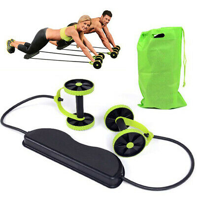 UK Abdominal Power Roll AB Trainer Waist Slim Exercise Core Double Wheel Fitness