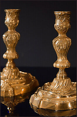 """A Pair Of Short French Louis XV Style Gilt Bronze """"Rocaille"""" Candlesticks 18,5 H"""