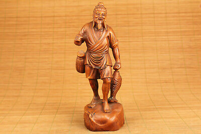 chinese old boxwood hand carved fish man statue collectable
