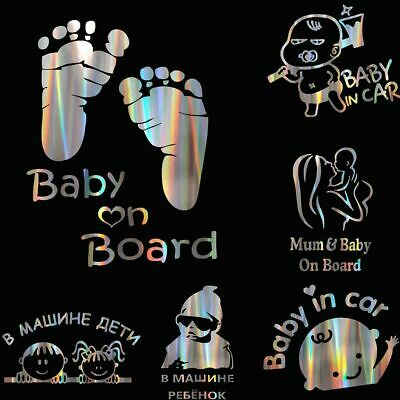 "Colorful Laser Kids Baby On Board Car 3D Sticker ""Baby In Car"" Car Decals Vinyl"