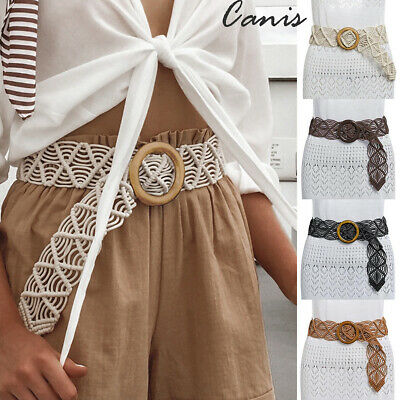 Women Fashion Braided Straw Belt Wooden Round Buckle Woven Lady Casual Waistband
