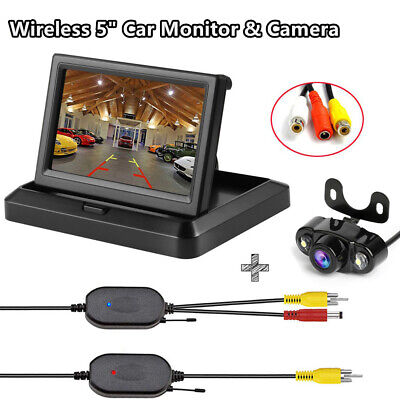 """Wireless 5"""" TFT LCD Car Monitor with Night Vision Parking Rearview Backup Camera"""
