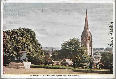 Derry / Londonderry - St.Eugene's Cathedral - Guildhall postcard, 'to pay' 1960s