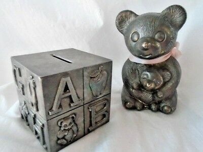LOT 2 Silverplate PIGGY BANK ☆ CUBE ALPHA  LETTERS ☆ BEAR ☆ CHILD NURSERY