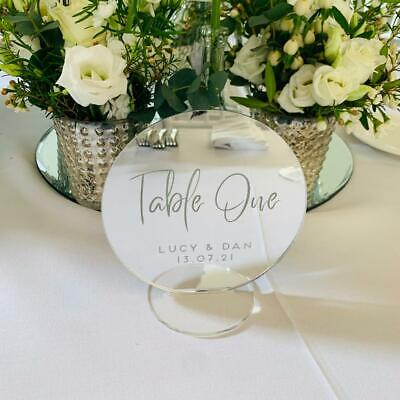 Silver mirror, Circle Wedding Table Numbers, Wreath Table Numbers, Table Names