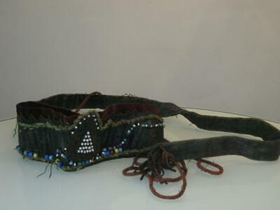 Stunning Antique Native American Leather Beaded Head Ware