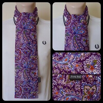 PRETTY SOUL PURPLE, BLUE & GREEN PAISLEY HANDMADE MOD SCARF SCOOTER 60s RETRO