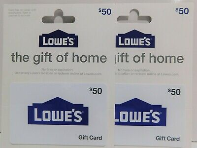 LOWE'S $100 (2x$50) GIFT CARDS-Free Shipping