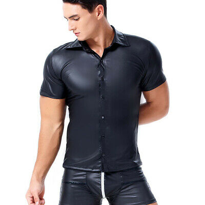 Europe Mens Pvc Rubber Latex T Shirt Erotic Gimp Gay Vest Suspenders Fetish Tops