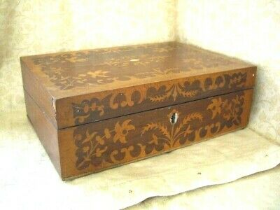 Antique Victorian Inlaid Walnut Wooden Writting Slope/ Box ~ needs some work