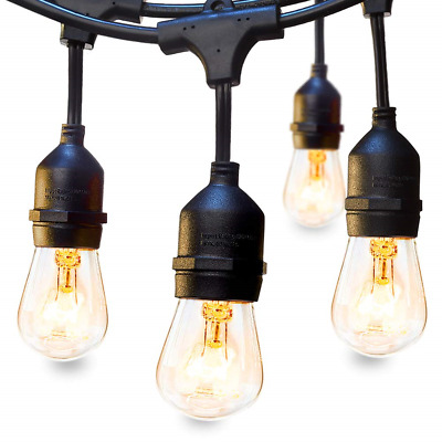 Outdoor String Lights Commercial Great Weatherproof Strand Dimmable Edison Bulbs