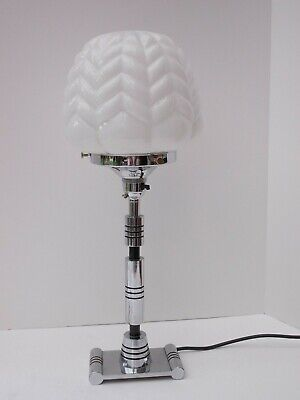 Original Chrome and Black Art Deco Table Lamp