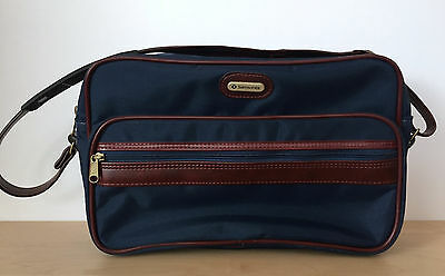 Vtg SAMSONITE Easy Going Messenger Shoulder Bag Navy Blue Brown Leather Strap