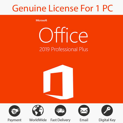 Microsoft Office 2019 Professional Plus Lifetime License 32/64 Instant Delivery