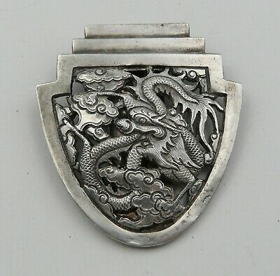 CHINESE EXPORT SILVER DRAGON BROOCH CLIP c.1890 CHINE PINCE EN ARGENT