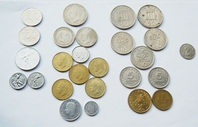 28 Vintage Coins Southern Europe Italy Spain Greece Malta 1957 - 1990s